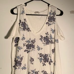 Lucky Brand Floral Embroidered Shirt Cold Shoulder